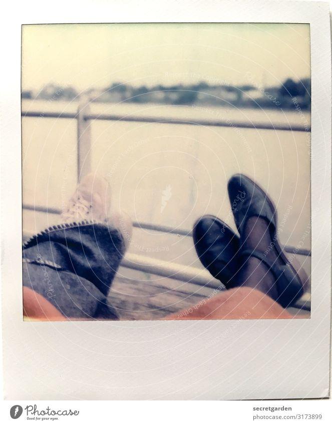 Human being Sky Vacation & Travel Relaxation Calm Lifestyle Autumn Feminine Couple Feet Friendship Contentment Retro Fog Lie