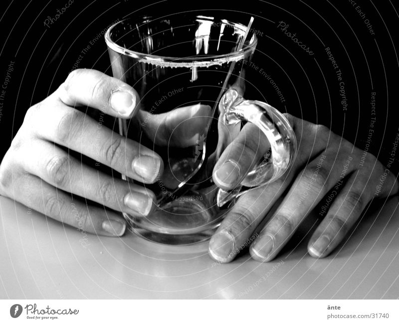 Human being Hand Calm Dark Glass Wait Table Empty Break To hold on Touch Tea Concentrate Thin Cup Still Life