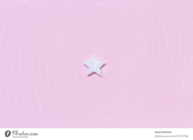 White Christmas star on a light pink background Decoration Ornament Pink pastel Guest Festive holidays seasonal noel Copy Space Minimal Conceptual design