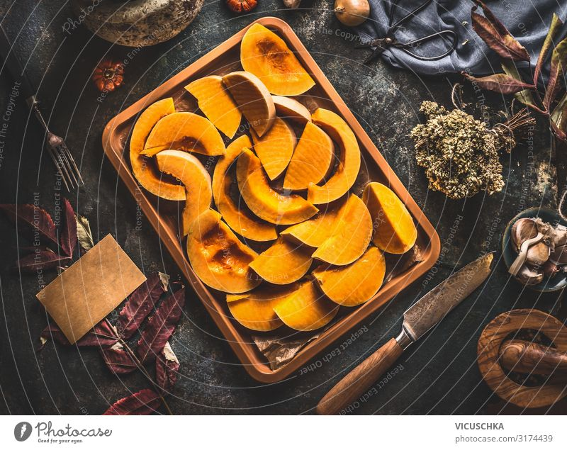 Pumpkin slices on baking tray Food Vegetable Nutrition Organic produce Vegetarian diet Diet Crockery Knives Style Design Healthy Eating Cooking Food photograph