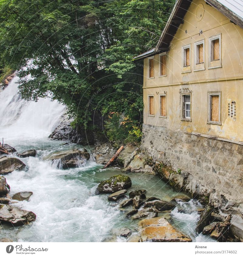 Noise Alps Threat Fear Dangerous Waterfall Mountain stream White crest Roar Bubbling Building Old Tumbledown Creepy Power Elements Massive Rock Austria