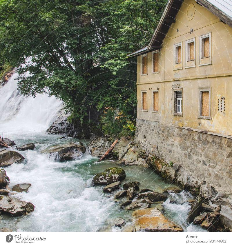 Old Building Rock Fear Power Dangerous Threat Alps Elements Creepy Austria Waterfall White crest Tumbledown Bubbling Massive