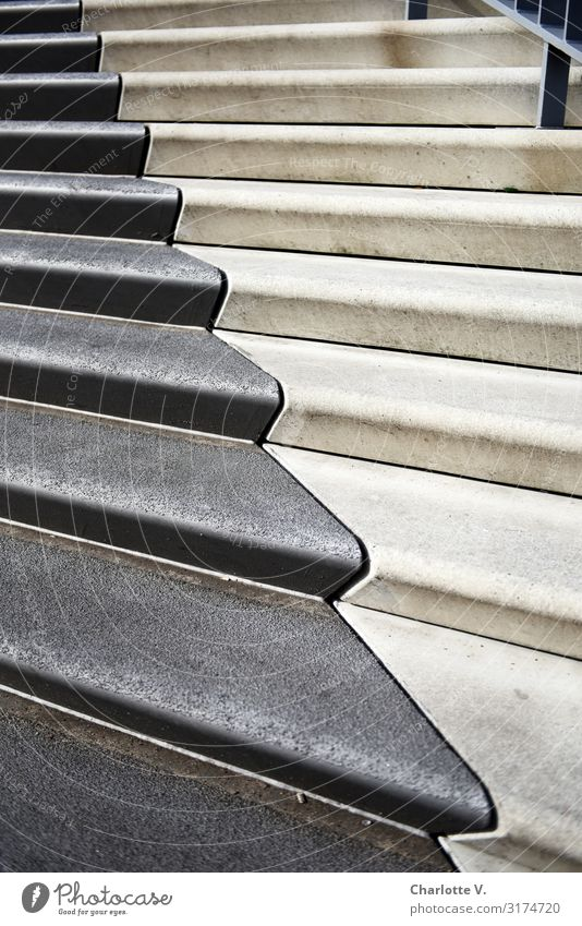 Zigzag | UT HH19 Stairs Stone Concrete Line Esthetic Sharp-edged Simple Elegant Cold Gray White Uniqueness Calm Yin and Yang Contrast Curved Climber