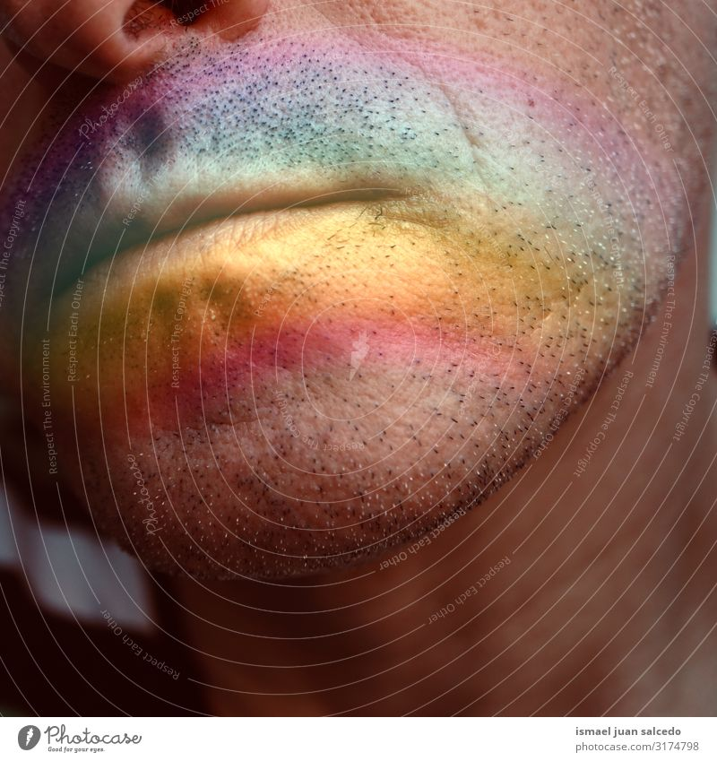 face with a rainbow on the lips Face Lips Man Human being Rainbow Symbols and metaphors Colour Multicoloured Rainbow flag Homosexual Pride diversity Tolerant