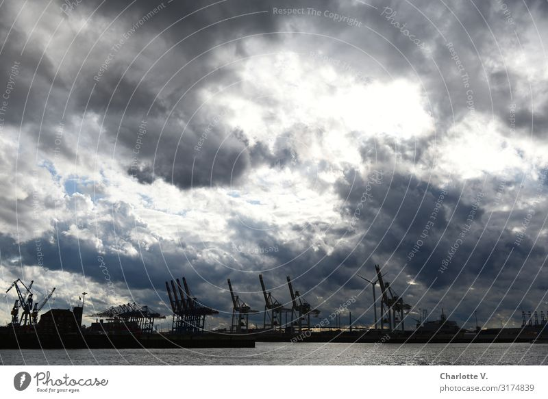 Dramatic scenes about Hamburg II   UT HH19 Industry Environment Elements Water Sky Clouds Storm clouds Bad weather Navigation Harbour Crane Illuminate Threat