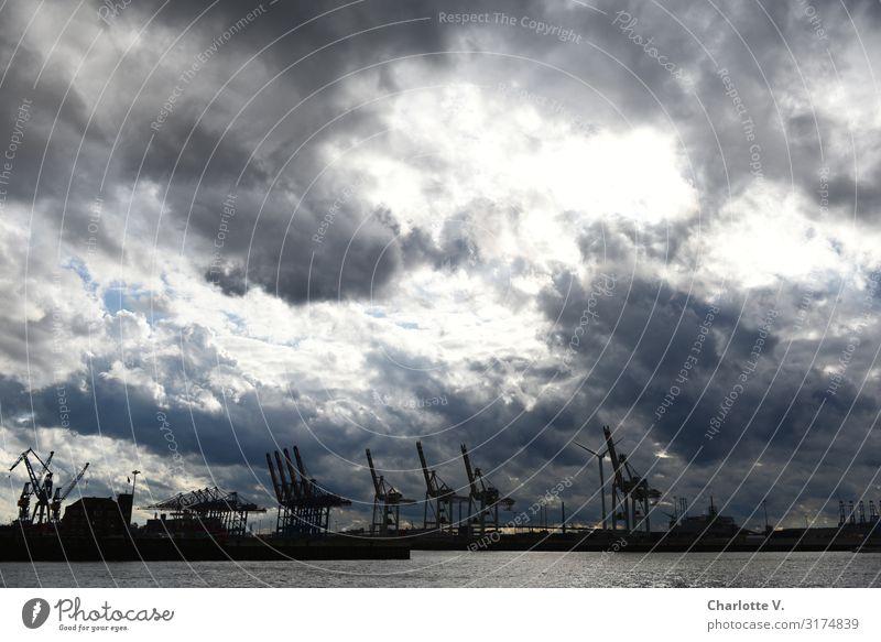 Sky Nature Blue Water White Clouds Dark Environment Small Gray Moody Horizon Illuminate Power Industry Threat
