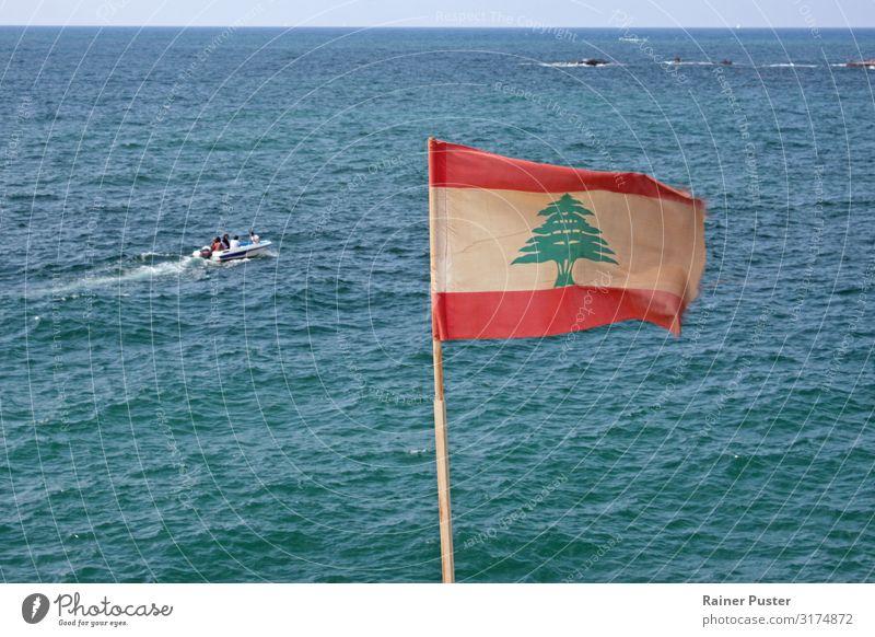Lebanese flag on the coast of Beirut Cloudless sky Sun Summer Coast Ocean Mediterranean sea Lebanon Blue Green Red Turquoise White Horizon Flag Ensign
