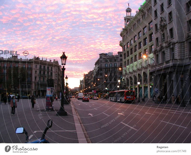 Sunset in Barcelona Clouds Town Night Europe Sky