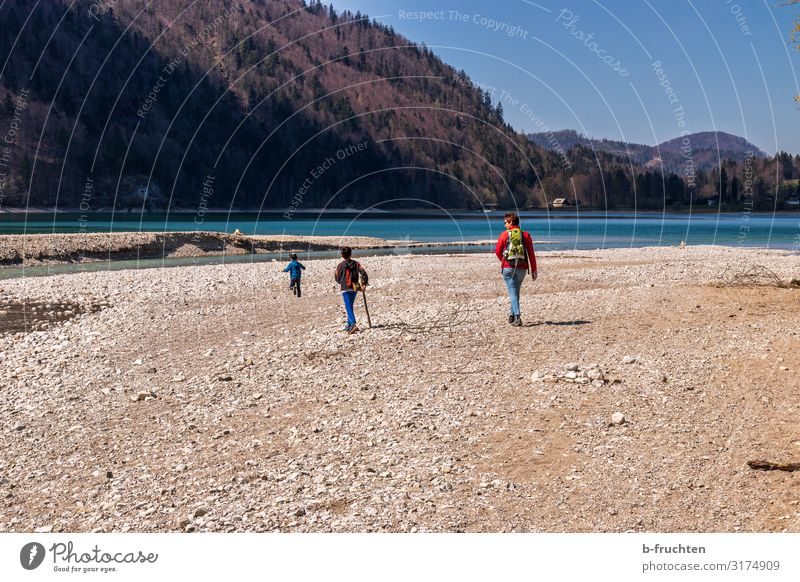 Hiking with children Well-being Relaxation Vacation & Travel Trip Child Woman Adults Family & Relations Infancy 3 Human being Nature Cloudless sky Autumn