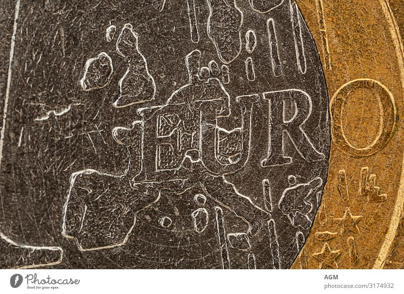 Euro coin extreme close-up Luxury Money Save Business Glittering Rich Round Gold Gray Silver Optimism Success Power Might Safety Agreed Modest Thrifty Effort