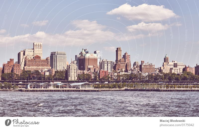Retro toned picture of Brooklyn waterfront, New York. Vacation & Travel Sightseeing City trip Summer Living or residing Flat (apartment) Sky River Skyline