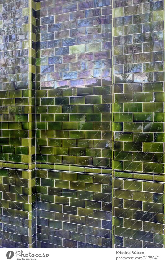 tiled wall House (Residential Structure) Decoration Architecture Facade Glittering Green Tile tiled facade tile facade cladding Dress up refect