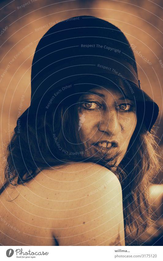 Woman Eroticism Face Feminine 45 - 60 years Hat Long-haired Brunette Alluring Sepia Twenties Naked flesh