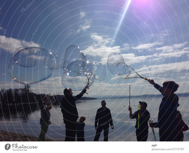 Soap bubbles at the Ammersee Human being Family & Relations Friendship Youth (Young adults) Art Artist Stage play Theatre Culture Event Shows Environment Nature