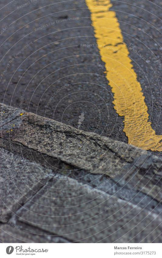 yellow line near the sidewalk Vacation & Travel Motoring Street Line Stripe Yellow Black way roadway Asphalt Rough prohibit Roadside Surface Doppelganger lane