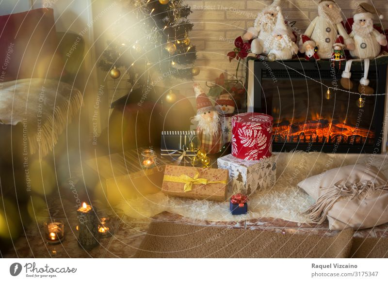 Living room in Christmas Winter House (Residential Structure) Decoration Feasts & Celebrations Christmas & Advent Tree Candle Brown Yellow Red christmas holiday