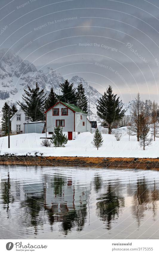 Cabins reflected-Vestpollen hamlet-Austvagoya-Lofoten-Norway-096 Sky Vacation & Travel Nature Plant Beautiful Green Water White Landscape Red Tree Ocean