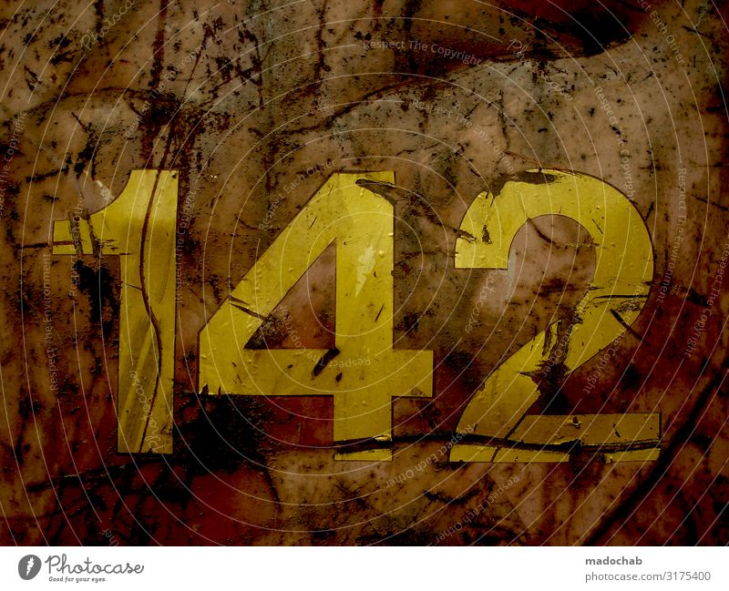 681 - 142 digits number number count rust container Sign Digits and numbers Old Authentic Hideous Broken Trashy Gloomy Yellow Orange Unwavering Defiant Eternity