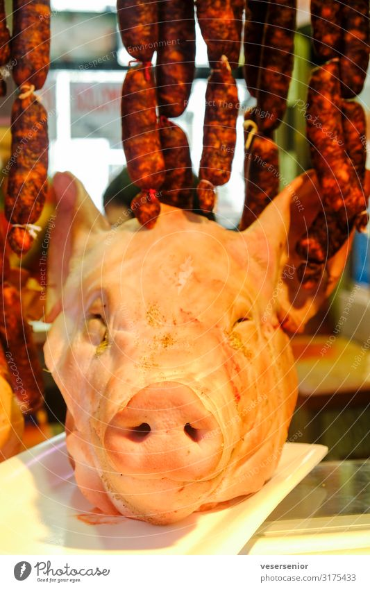 Pig 1 Food Meat Sausage Farm animal Dead animal Pig head Animal Creepy Delicious Bizarre Decadence To enjoy Whimsical Colour photo Interior shot Close-up