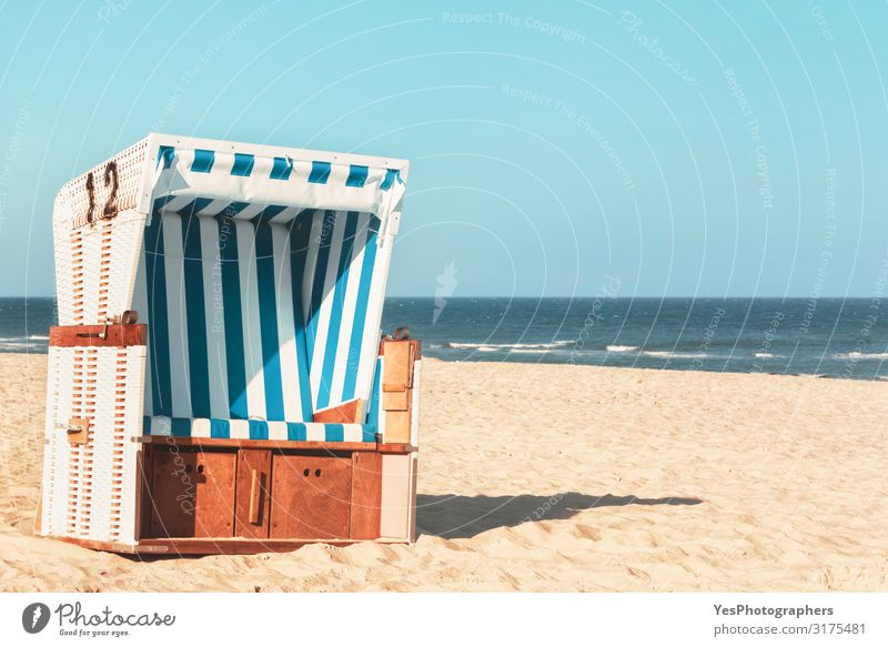 Wicker chair at the beach on Sylt island. Sunny beach day Joy Relaxation Vacation & Travel Summer Summer vacation Beach Island Nature Landscape Sand Water