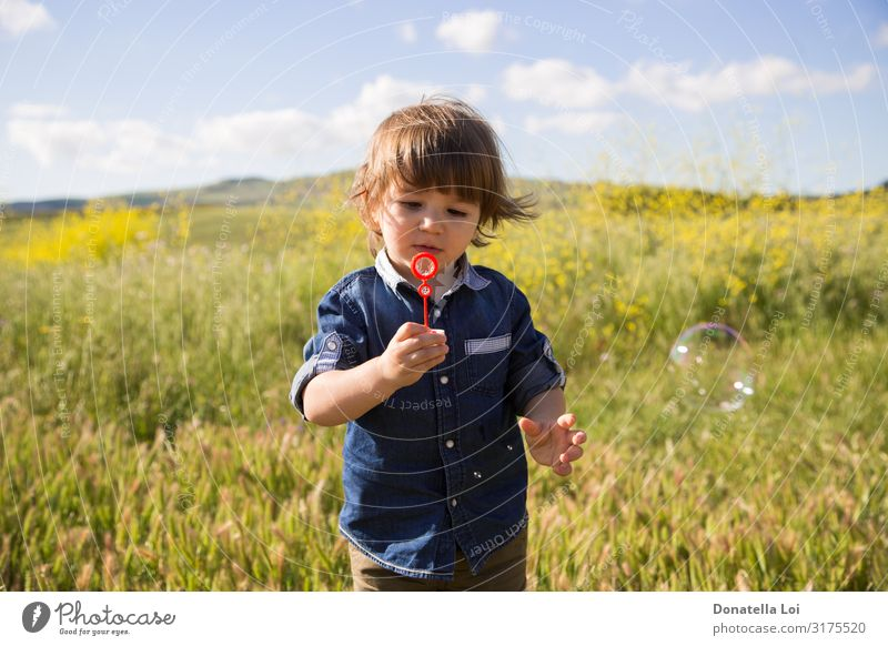 Child makes soap bubbles in the outdoors Lifestyle Summer Human being Toddler Boy (child) 1 1 - 3 years Nature Plant Clouds Grass Wild plant Field Jeans Playing