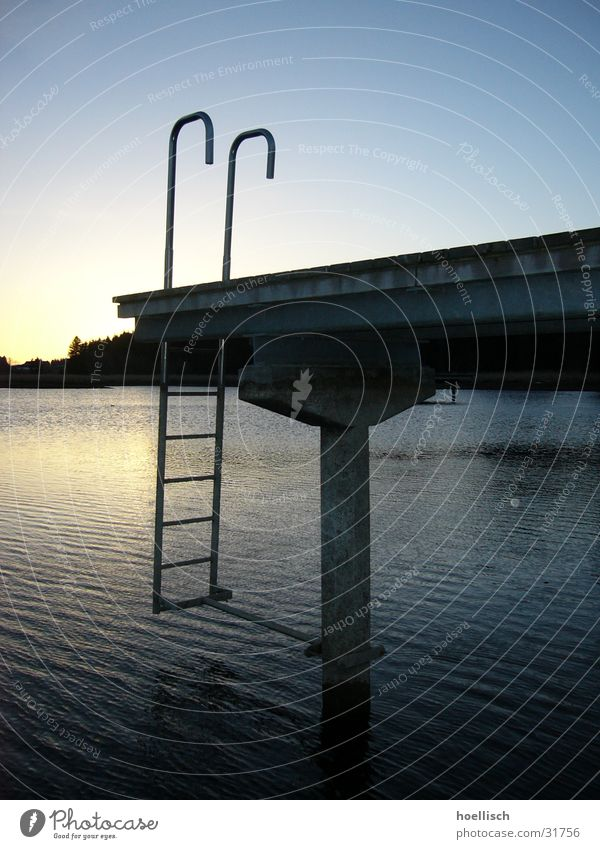 pond Footbridge Bog Sunset Sunrise Loneliness Lake. pond Water Ladder Sky
