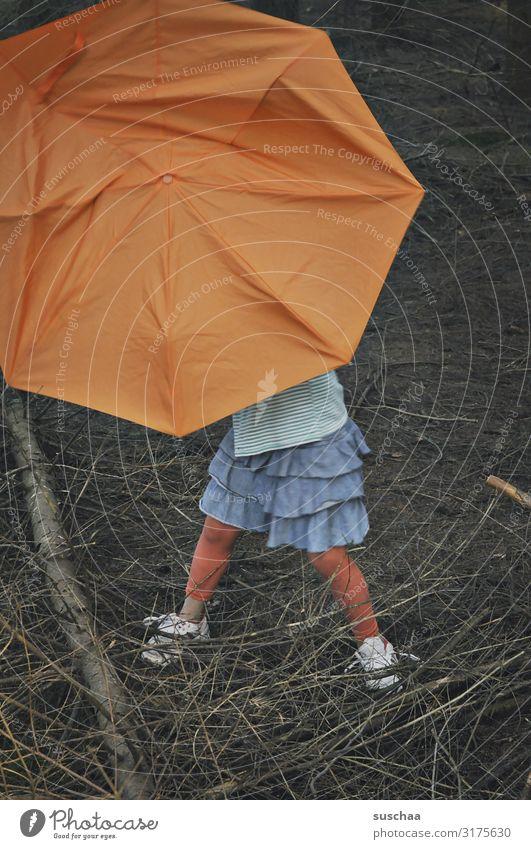 with umbrella in the forest (2) Child Girl Umbrellas & Shades Undergrowth Forest Tree Branch Woodground Dark Individual Multicoloured Orange Skirt Rain