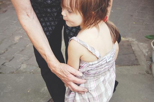 old and young Feminine Girl Grandmother Infancy Senior citizen 2 Human being Touch To hold on Old Authentic Together Cute Trust Safety Protection