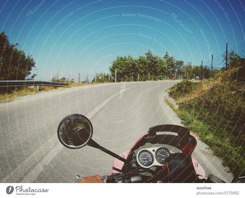 on the motorcycle somewhere in greece (2) Motorcycling passenger in the mountains vacation holidays Vacation & Travel go away travelers Winding road Motorcycle