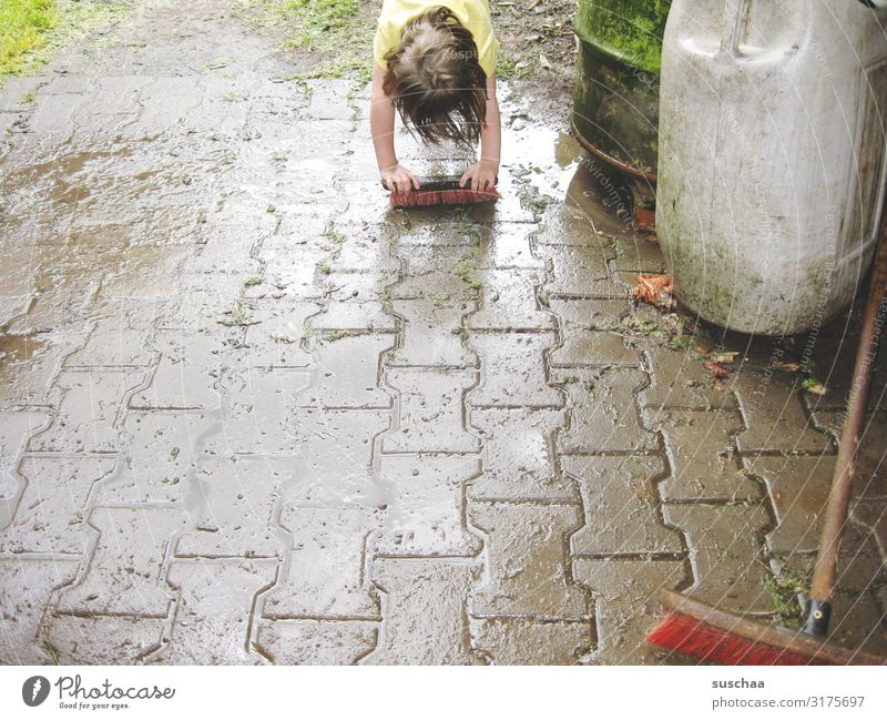 scrubbing Child Girl Clean Cleaning scrubbing brush Rain Rainwater Wet Dirty Broom Street Farm Courtyard Joy Rainwater butt Weather Summer Water