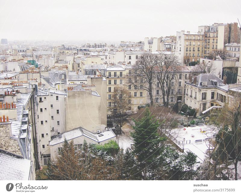paris in winter Paris Town City Europe Capital city France House (Residential Structure) Building Roof Snow Winter Cold Frost Climate Chimney Tree Bleak