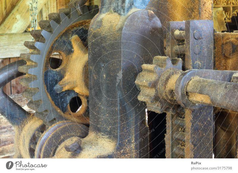 Detail of a historical sawmill. Machinery technique Mechanics machine Gear unit gearing pinion Chain sprocket chain wheel Wheel Gearwheel cogwheel country