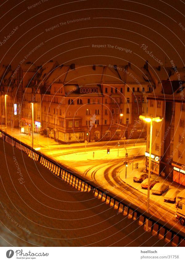 crossing at night in winter Building Winter Lantern Architecture Mixture Snow Light Lighting Street