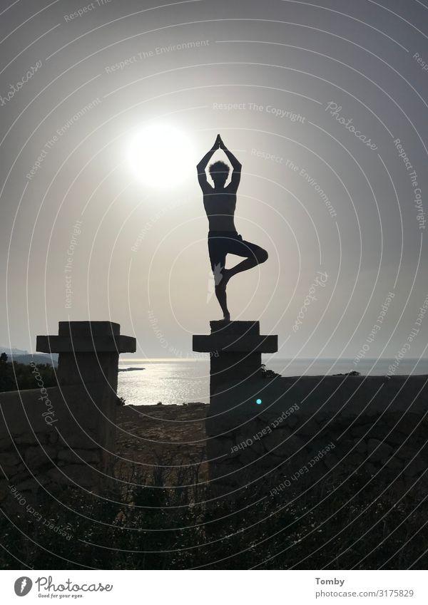 yoga Alternative medicine Fitness Relaxation Meditation Yoga 1 Human being Nature Water Sunrise Sunset Sunlight Ocean Mediterranean sea Island Ibiza Breathe