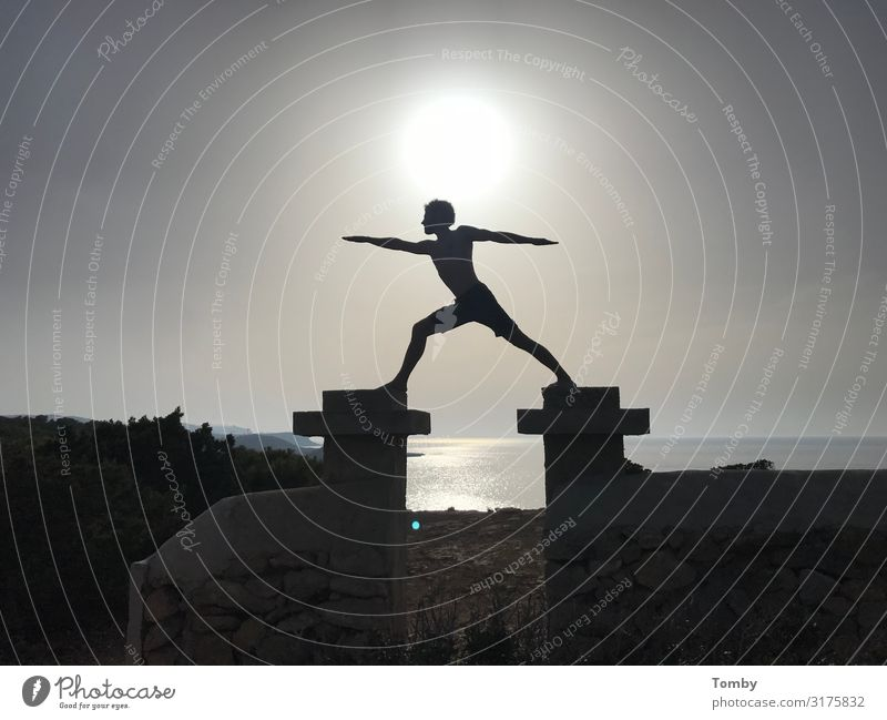 Yoga Sunset Vacation & Travel Summer Ocean Island Sports Fitness Sports Training Sportsperson Masculine Life Body 1 Human being Nature Landscape Cloudless sky