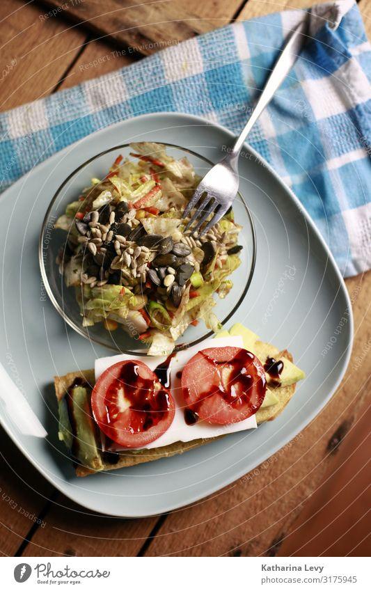 eat vegan Food Vegetable Lettuce Salad Bread Nutrition Dinner Vegetarian diet Diet Slow food Crockery Plate Fork Healthy Overweight Living or residing Eating
