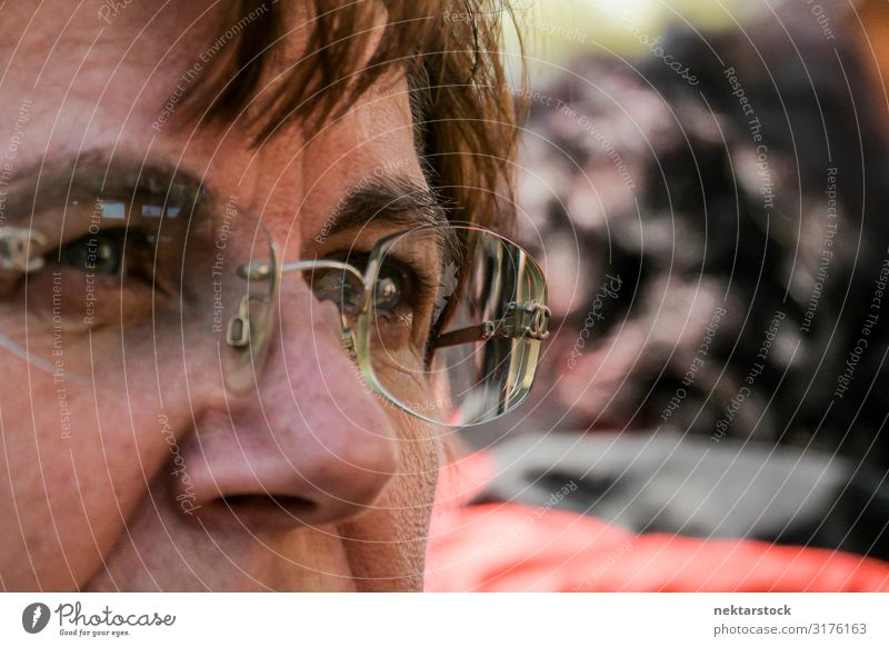 Details of Middle Aged Woman's Face Adults Eyeglasses Think Self-confident Determination Idea nose eyes Middle-aged Caucasian focus on foreground closeness
