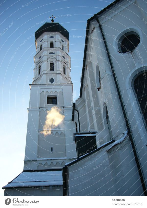 Sky Winter Snow Window Religion and faith Perspective Tower Smoke Bell Allgäu House of worship