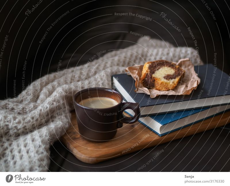 Coffee break with cake Food Cake To have a coffee Beverage Hot drink Cup Lifestyle Living or residing Sofa Wool blanket Book Fragrance Relaxation Retro Moody