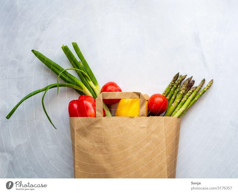 Fresh coloured vegetables in a paper bag Food Vegetable Asparagus Tomato Leek vegetable Pepper Nutrition Organic produce Vegetarian diet Diet Fasting Lifestyle