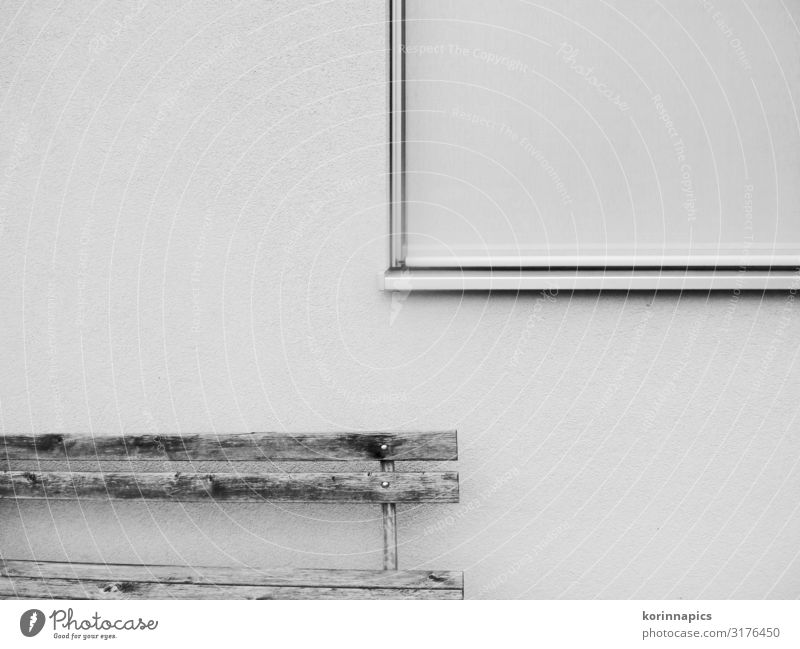 Empty Bank Deserted Wall (barrier) Wall (building) Window Bench Wood Sit Black White Calm Esthetic Expectation Mysterious Complex Boredom Arrangement Transience