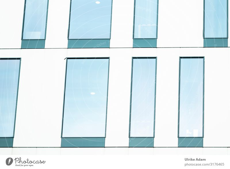 Window front in Hamburg Design High-rise Building Facade Inspiration Architecture Glazed facade Classification Blue White Rectangle Colour photo Exterior shot