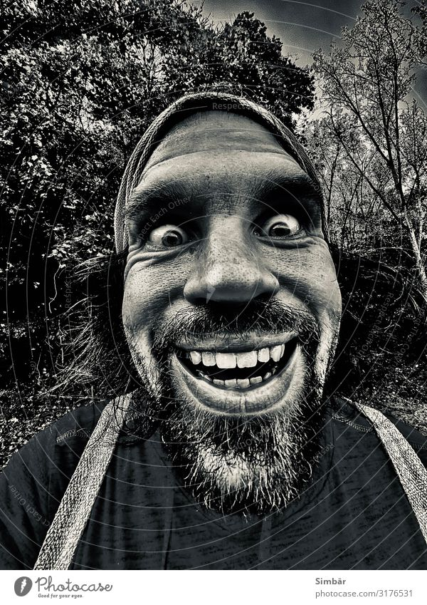 peat quilting Human being Man Masculine Face Wide angle Facial hair Black & white photo Laughter Eyes Teeth Smiling Friendliness Positive Nature Exterior shot