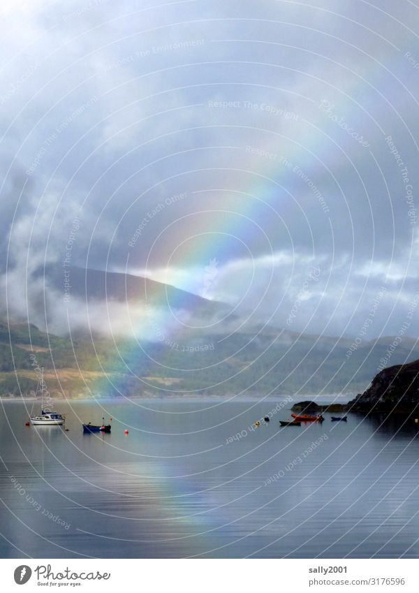 when the rainbow is reflected in the water... Rainbow Lake Ocean Hollow Scotland Prismatic colors boat Games solution Reflection Nature Landscape Bay Buoy