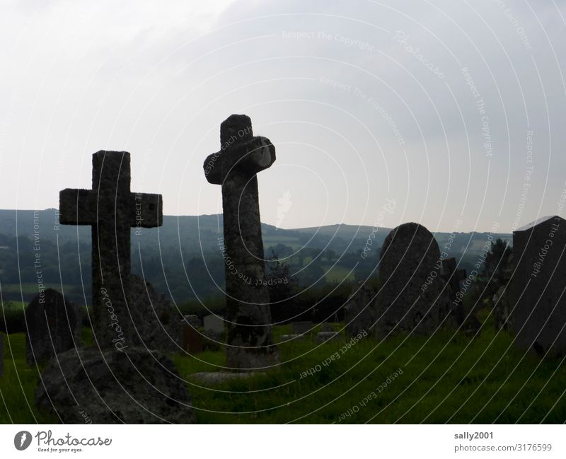peaceful... Cemetery Tombstone Crucifix symbol Stone Stone cross Death weaker Belief Christian cross Sadness tranquillity Peaceful Calm Religion and faith