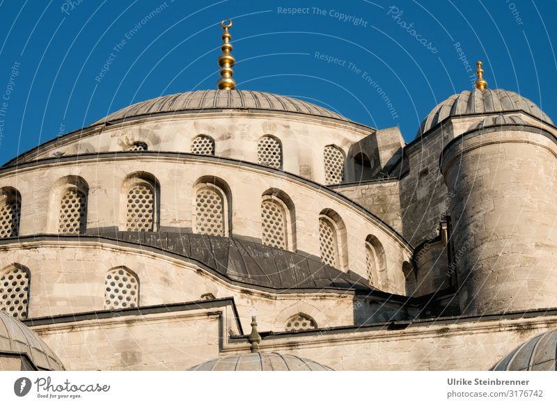 Blue mosque in beige Vacation & Travel Tourism Sightseeing City trip Istanbul Turkey Europe Town Downtown Old town Church Manmade structures Building