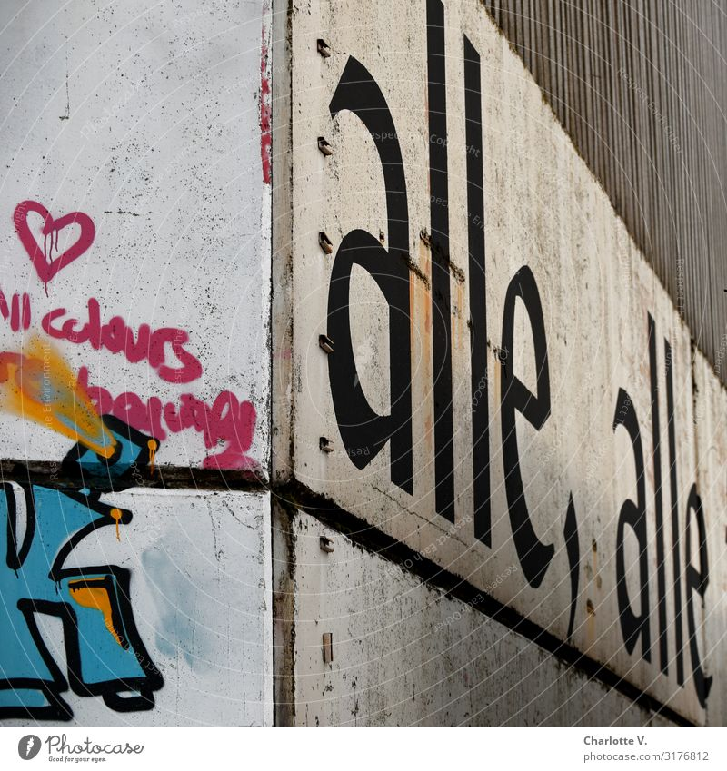 All, all, all (all all) | UT HH19 Wall (barrier) Wall (building) Concrete Sign Characters Graffiti Heart Line Exceptional Dirty Sharp-edged Large Historic Retro