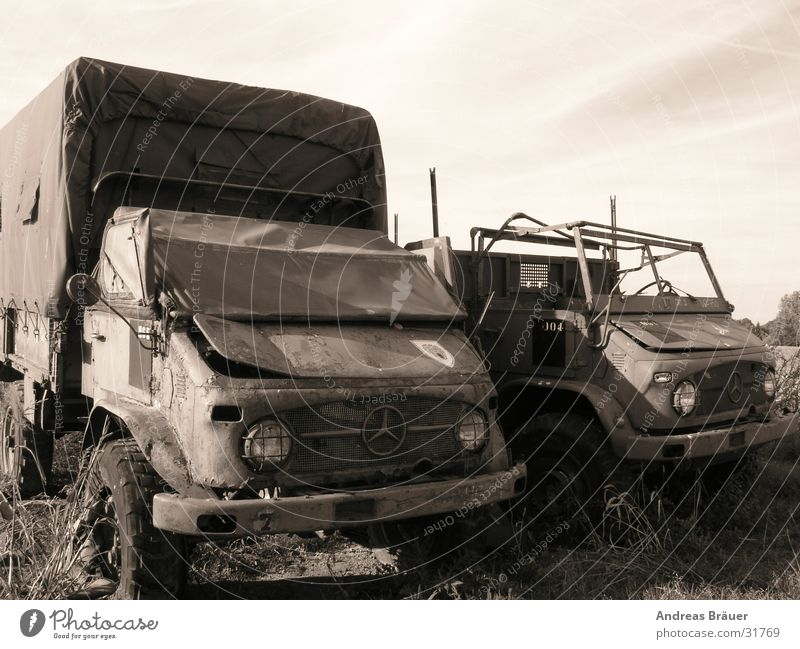 Rejected Scrap metal Ancient Loneliness Calm Gray Transport Unimog Car Old