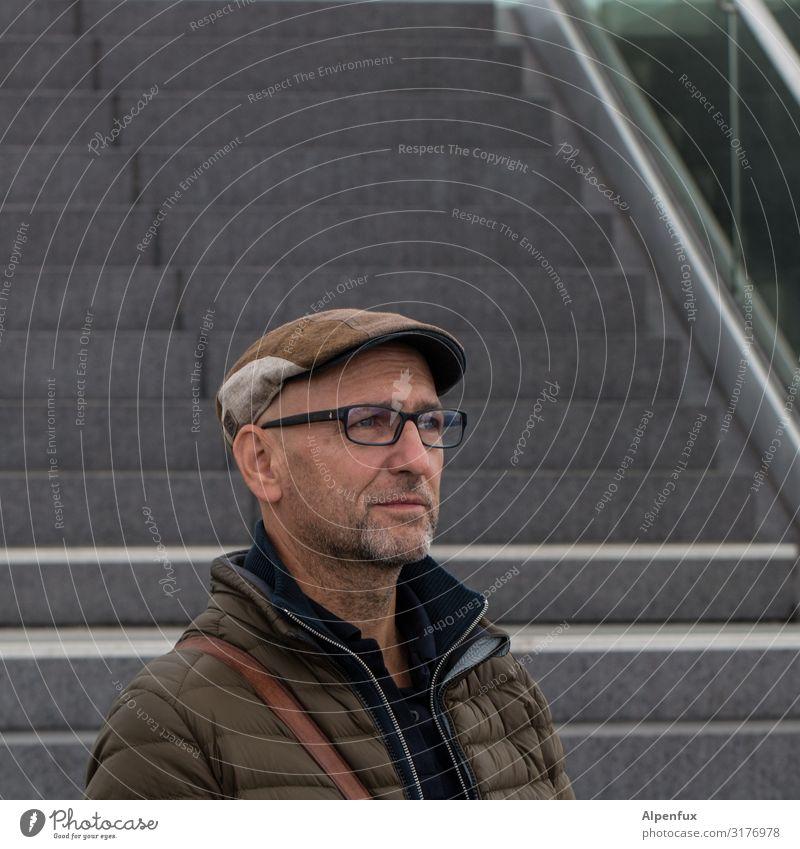 Man in front of stairs | UT HH19 Human being Masculine Adults 45 - 60 years Stairs Looking Esthetic Elegant Curiosity Contentment Self-confident Cool (slang)