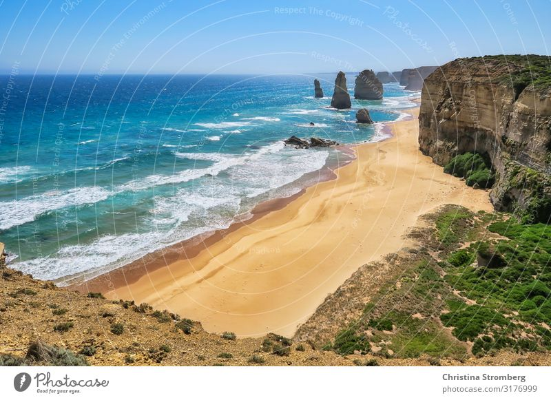 The Twelve Apostles Vacation & Travel Tourism Trip Far-off places Beach Ocean Nature Landscape Sand Water Waves Coast Tourist Attraction Happy Australia